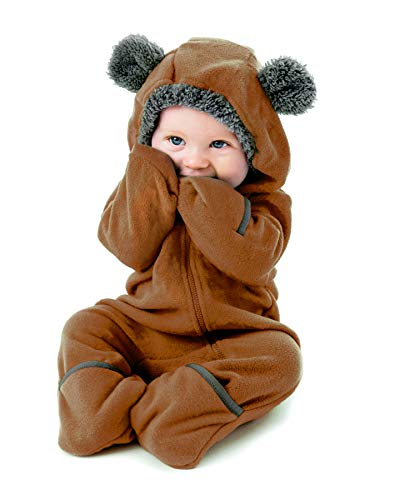 Cuddle Club Funzies Baby Bunting Fleece Hooded Romper Bodysuit (18-24 Month, Brown) -