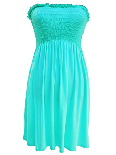 Rimi Hanger Womens Sheering Boobtube gather Bandeau Top Ladies Strapless Summer Mini Dress Mint Small