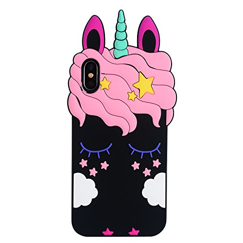 Joyleop Black Unicorn Case for iPhone X/XS, Cute 3D Cartoon Animal Cover,Kids Girls Cool Fun Soft Silicone Rubber Kawaii Character Unique Shell,Adorable Shockproof Cases Skin Protector iPhoneX/XS