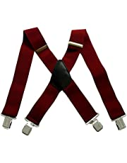 50mm Extra Wide Heavy Duty X-Back Adjustable Elastic Mens Suspenders Clip On Braces Trouser