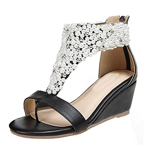 getmorebeauty Women's Ankle Strappy Black Across Pearls Peep Toes Zipped Sandals 7 B(M) US