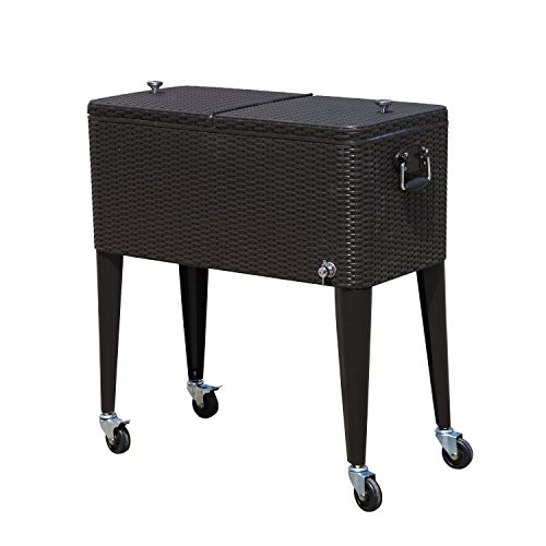 Tenive 80 Quart Rolling Wheels Ice Chest Portable Patio Party Bar Drink  Entertaining Outdoor Cooler Cart   Brown Wicker Pattern