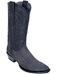 Men's Snip Toe Genuine Leather Teju Lizard Skin Western Boots - Exotic Skin Boots