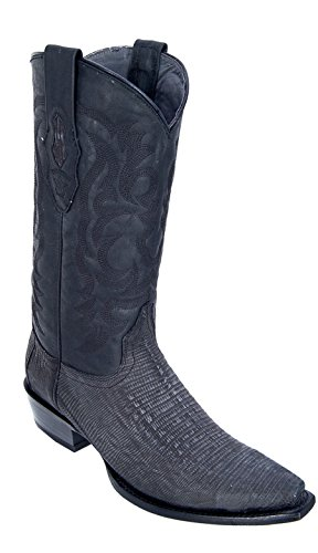 Men's Snip Toe Sanded Black Genuine Leather Teju Lizard Skin Western Boots - Exotic Skin Boots
