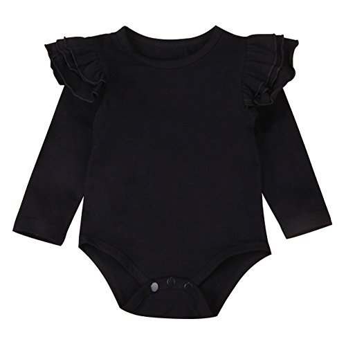(Infant Baby Girl Basic Ruffle Long Sleeve Cotton Romper Bodysuit Tops Clothes (Black, 0-3)