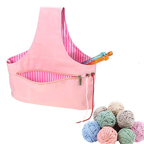 - Gotian Yarn Crochet Thread Storage Mesh Bag Environmentally Friendly Paper Lightweight Portable Handbag (Pink)