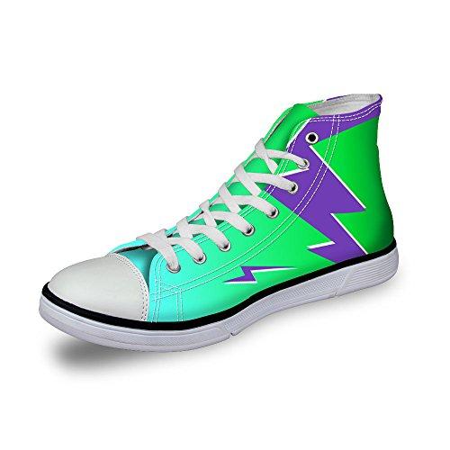 Per Te Design Elegante Lampo Stampa Donna Alta Top Lace Up Cotone Moda Sneaker Verde 1