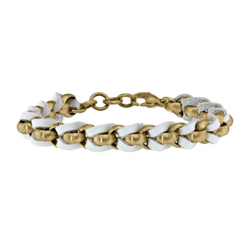 STEL Yellow Ion Plated Stainles Steel and White Leather Braided Bracelet. 7 1/2