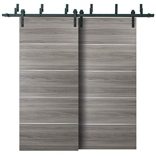 Double Bypass Barn Sliding Grey Doors 84 x 96 with 6.6FT Rails | Planum 0020 Ginger Ash | Heavy Top Mount 2 Tracks…
