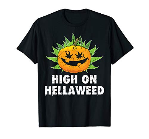 High On Hellaweed Halloween Weed Cannabis Marijuana Shirt -