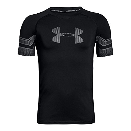 Under Armour Boys' HeatGear Armour Graphic Short Sleeve Shirt, Black (001)/Graphite, Youth X-Large