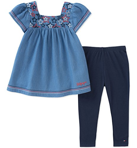 Tommy Hilfiger Baby Girls Tunic Set, Twinkle Blue/Navy, 24M (Tommy Hilfiger Tunic)