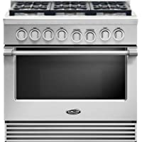 DCS RGV2366L 36 Liquid Propane Gas Range with 6 Sealed Dual Flow Burners 5.3 Cu. Ft. Oven Capacity Convection Bake and Flat Vent Trim: Stainless