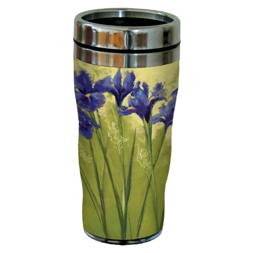 Tree-Free Greetings sg23745 Irises on Green by Nel Whatmore Travel Tumbler, 16-Ounce