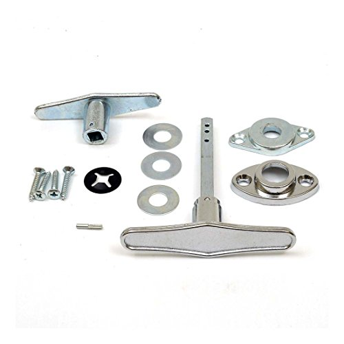Garage Door Lock T - Handle Assembly (No Keys) -Chrome Plated Exterior Components