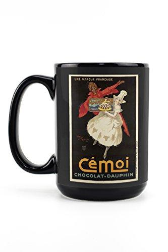 Cemoi Chocolat - Dauphine Vintage Poster (artist: Monnier, Henry Le) France c. 1924 (15oz Black Ceramic Mug - Dishwasher and Microwave - Press Dauphine