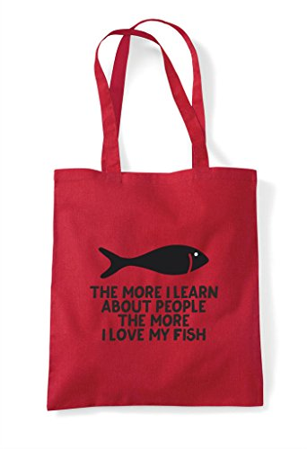 People More Tote Love Lover Learn About Animal Shopper My Pets Person Red I Fish The Funny Bag wIqUgndI
