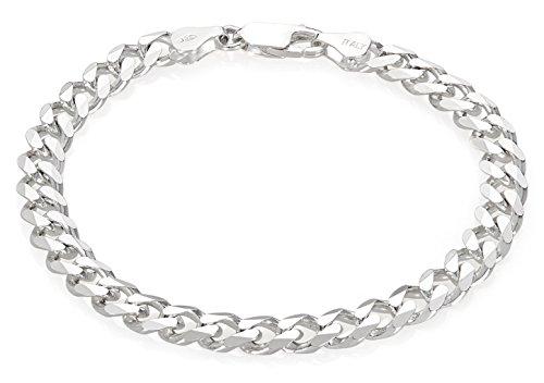 Italian 6.5mm 925 Sterling Silver Nickel-Free Beveled Cuban Curb Link Bracelet, 7