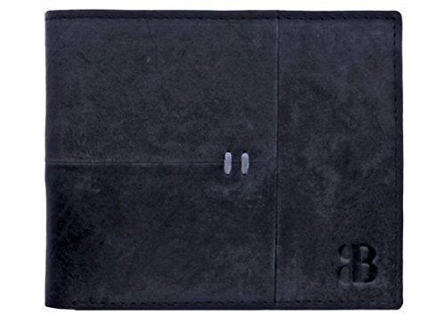 Burkley Business Line Herren Leder Geldbörse Portemonnaie Brieftasche in besonders flacher Ausführung mit Kartenfächer in antik schwarz