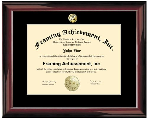 Certificate Frame - Premium Glossy Traditional Mahogany University Diploma Frame - Choice of College Major Gold Seal Insignia - Single Black Mat - College Degree Frame