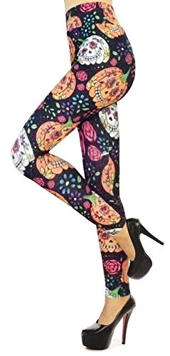 Verabella Women's Pumpkin Print Ankle Length Stretchy Legging Pants