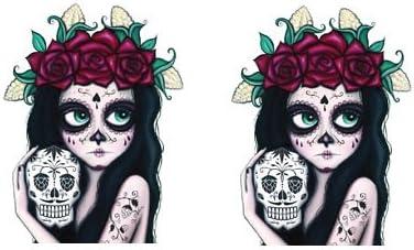 Linnis Vinyl Banners Premium Quality Sugar Skull Catrina Sticker 2 Piece Skull Girl