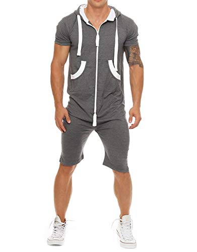 jumpjisper Mens Rompers Jumpsuits Shortsleeve One Piece Drawstring Hooded Tracksuits Casual Coverall Playsuits with Pockets (Dark Gre, XXL) ()