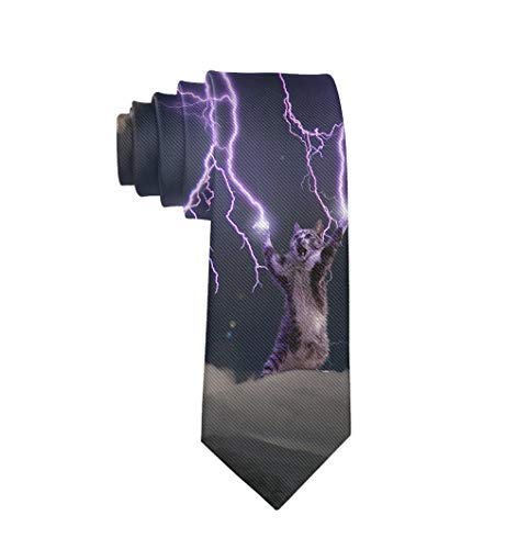 Casual Men's Tie Necktie Gift, Cats Storm Lightning Skinny Long Ties for Trade Meeting Conference