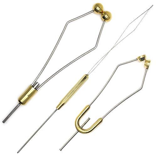 XFISHMAN Fly Tying Bobbins Holder Tools 2 Size Super Smooth Bobbins with 1 Bobbin Threader Set (2 Bobbins(Big+Standard Size)+1Threader)