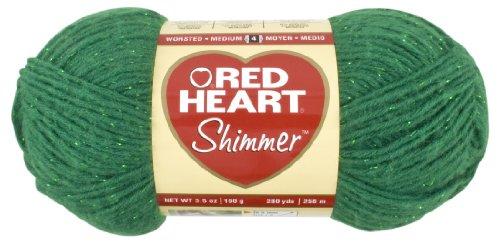 Red Heart Shimmer Yarn, Solid, Shamrock