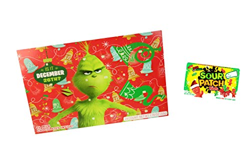 The Grinch Advent Calendar 2018 and Sour Patch Kids | 24 Milk Chocolate Candies for Kids 1.76 oz | Dr Seuss Countdown to Christmas Holiday | Bundle Gift Set]()