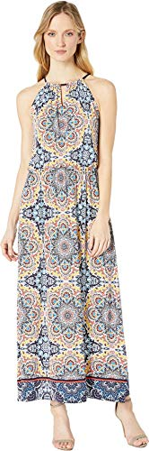 Tile Turkish Womens - London Times Women's Turkish Tile Blouson Halter Maxi Multi 6