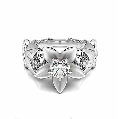 Rings,Women's Rose Floral Lucky Flower Leaf Diamond Rings Jewelry Gift by ZYooh (Silver, 6)