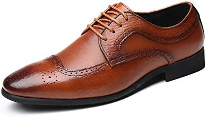 389dbd8e3d298 Men's Leather Oxfords Dress Shoes, Lace-ups Brogue Wingtip Pointed ...
