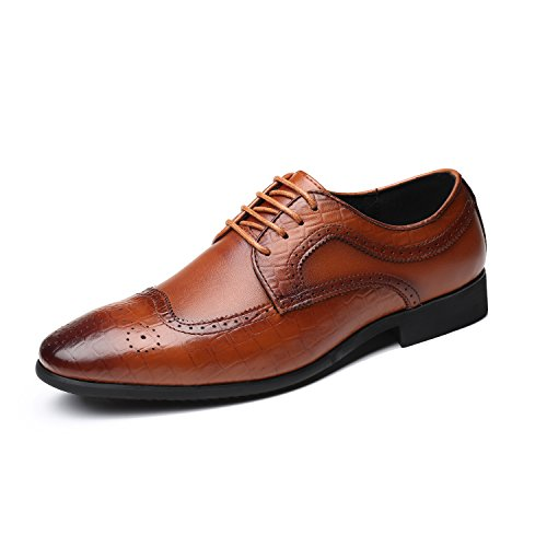 Men's Leather Oxfords Dress Shoes, Lace-ups Brogue Wingtip Pointed Toe Casual Derbies Business for Men