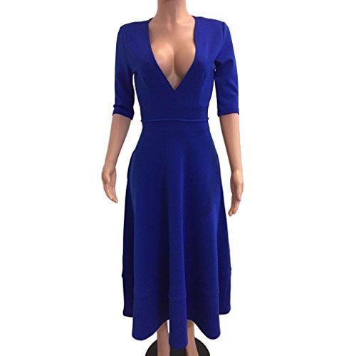 À Double Col En V Longueur De Thé Demi-manches De Femmes Doris Robes De Cocktail De Robes De Soirée Bleu