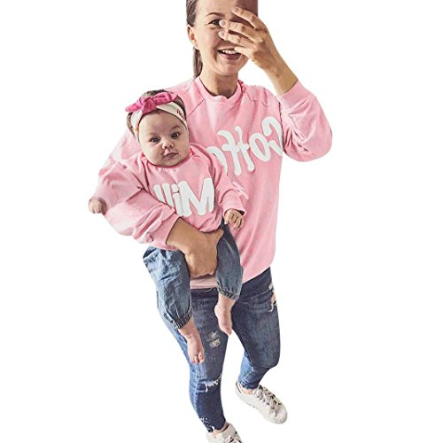 Tenworld Mommy and Me Parent-Child Letter T Shirt Family Matching Clothes Outfits (12 Months, Baby Pink) Matching Mother Baby Clothes