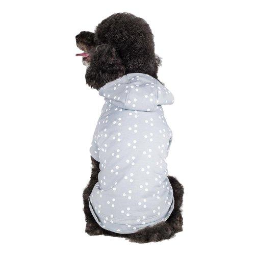 [Blueberry Pet Polka Dot Grey & White Dog Hoodie, Back Length 10