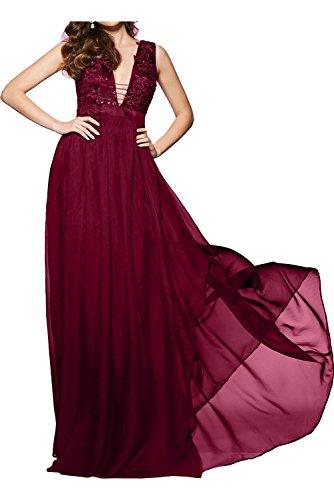 Ballkleid Spitze Ivydressing gedeckt Weinrot Abendkleid Ausschnitt V Applikation Tuell bodenlang 2017 Partykleid Damen Aermellos Strass Knopf Neu Chiffon HqwHaz4