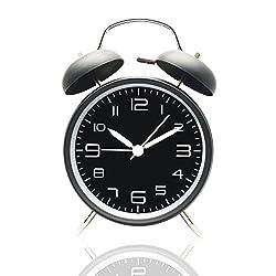 GenLed 4 Inch Retro Double Bell Alarm Clock Silent Quartz Clock Battery Operated Loud Alarm Clock for Bedside,Getting up,Bedroom, Desk(Black)