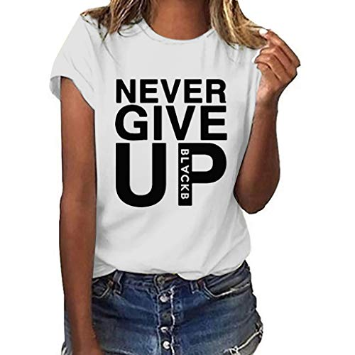 - Funny T Shirt for Women,ONLY TOP Women Never GIVE UP T Shirt Plus Size Short Sleeve Blouse Teen Girls Graphic Tees White