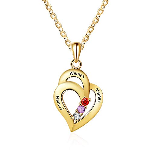(Lam Hub Fong Customized Mothers Name Necklace with 3 Simulated Birthstones Pendant Relationship Heart Name Necklace for 3 Personalized Necklace for Women (Gold))
