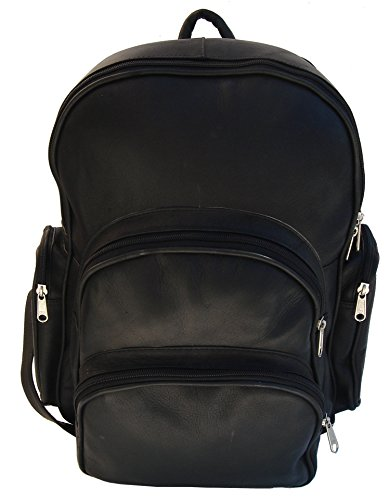 Piel Custom Personalized Leather Expandable Backpack in Black