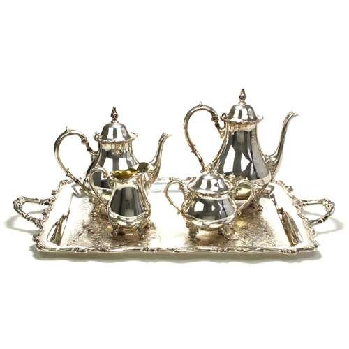 American Rose by International, Silverplate 5-PC Tea & Coffee Service (Silverplate Set Coffee)