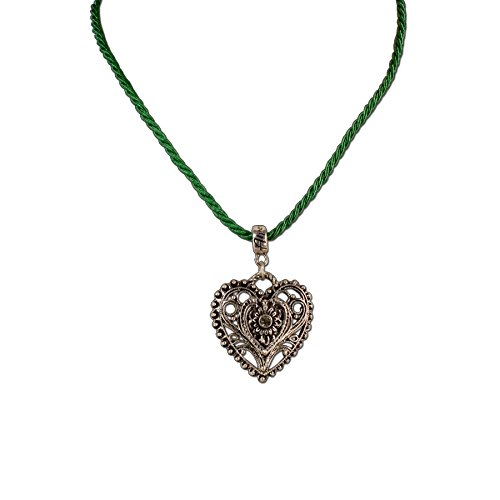 Alpenflüstern Damen Kordel-Halskette mit Trachtenherz-Anhänger grün DHK09600050