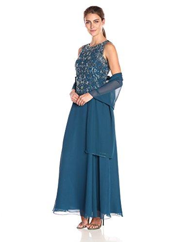 J Kara Women's Long Beaded V Trim Detail Dress with Scarf, Teal/Mercury/Turquoise, 14