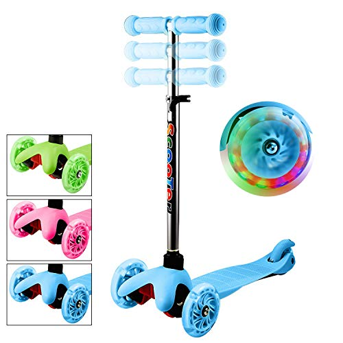 Lululy Kids Scooter Children 3 Wheel Adjustable Height Kick Scooter with Flashing PU Wheels for Kids Children Aged 2-8 (Best 2 Wheel Balancing Scooter)