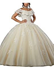 Eldecey Womens Off-Shoulder Lace Applique Sweet 16 Prom Quinceanera Dress
