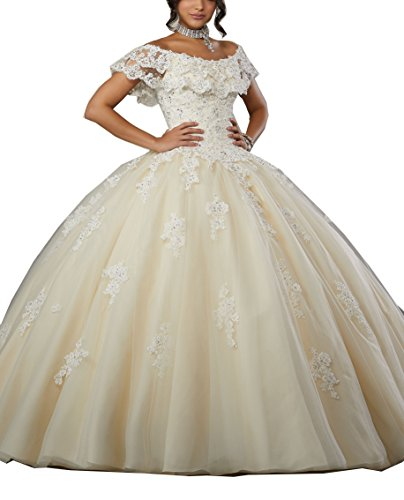 Eldecey Women s Off-Shoulder Lace Applique Sleeveless Sweet 16 Prom Quinceanera Dress Champagne US4