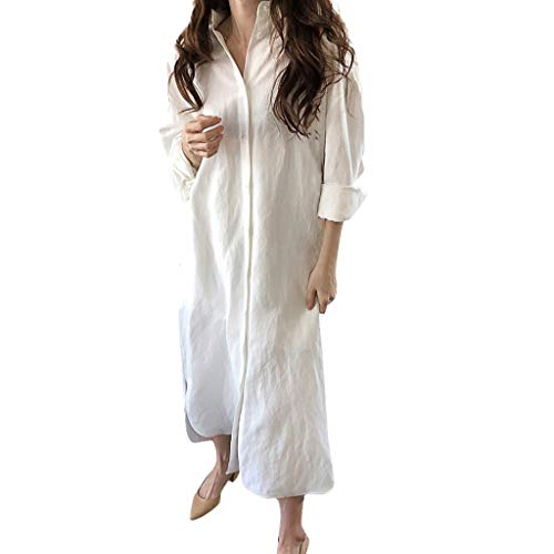 NANTE Top Casual Loose Dress Solid Long Sleeve Easy Button Lapel Long Dresses Sundress Beachwear Length Skirt Women Costumes (XL, White) -